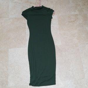 Windsor cotton blend fitted dress dark green